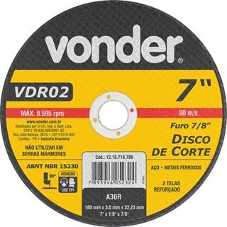 DISCO DE CORTE 180MM 7'' VDR02 - VONDER